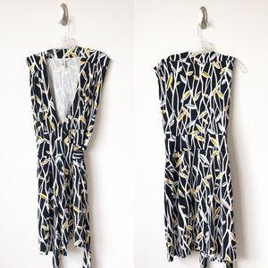 Diane von Furstenberg Wrap Dress Black Leaf Print